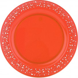 "Plastic bord Rond vormig ""Lace"" oranje 23cm (4 stuks)"