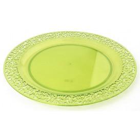 """Assiette Plastique Ronde """"Lace"""" Vert Ø19cm (4 Utés)"""