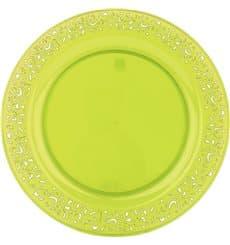 """Assiette Plastique Ronde """"Lace"""" Vert Ø23cm (4 Utés)"""