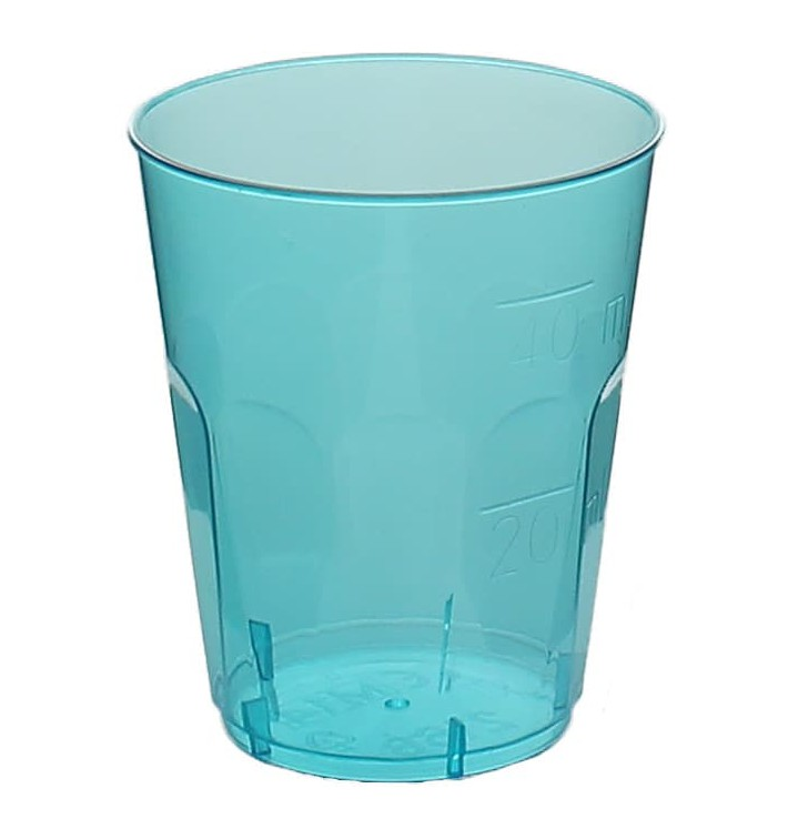 "Gobelet Shot ""Diamant"" PS Cristal Bleu 50ml (20 Utés)"