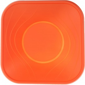 """Bol Plastique PP Carré """"X-Table"""" Orange 18x18cm (8 Utés)"""