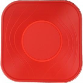 """Bol Plastique PP Carré """"X-Table"""" Rouge 18x18cm (8 Utés)"""