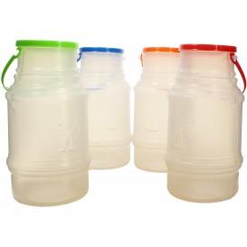 Plastic melk Container met handvat en Deksel 1000 ml (50 stuks)