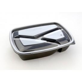 Barquette Plastique PP 3C Noir 900ml 23x17x5cm (75 Utés)