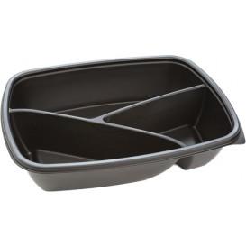 Barquette Plastique PP 3C Noir 900ml 23x17x5cm (300 Utés)