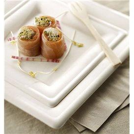 Assiette Carrée Canne à Sucre Blanc 150x150mm (25 Utés)