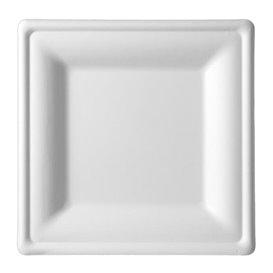 Assiette Carrée Canne à Sucre Blanc 200x200mm (25 Utés)