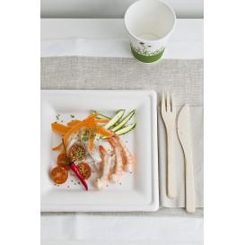 Assiette Carrée Canne à Sucre Blanc 260x260mm (10 Utés)