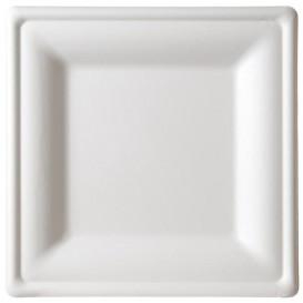 Assiette Carrée Canne à Sucre Blanc 260x260mm (200 Utés)