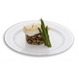 Assiette en Plastique Dur avec Liseré Argent 19cm (10 Utés)