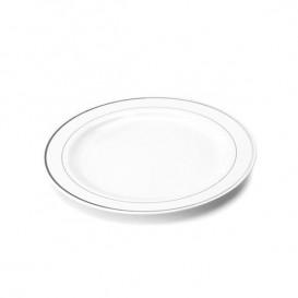 Assiette en Plastique Dur avec Liseré Argent 23cm (90 Utés)