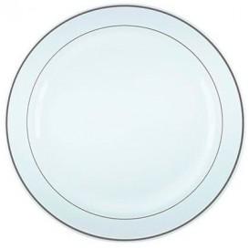 Plastic bord Extra stijf met Ovale rand zilver 26cm (6 stuks)