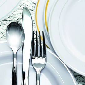 Couteau argenté en plastique 20cm (10 unités)