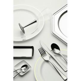 Fourchette argentée en plastique 19cm (10 unités)