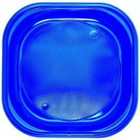 Assiette Plastique PS Carrée Bleu Foncé 200x200mm (30 Utés)