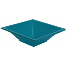 Bol en Plastique PS Carré Turquoise 12x12cm (12 Utés)