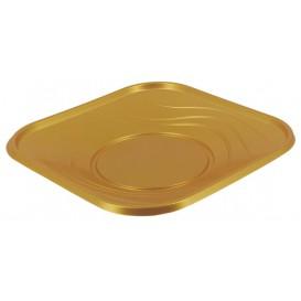 "Plastic bord PP ""X-Table"" Vierkant goud 18 cm (8 stuks)"