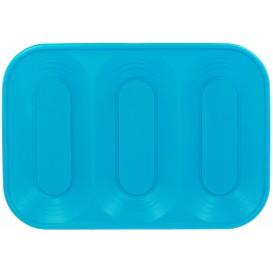 """Plastic dienblad microgolfbaar """"X-Table"""" 3C turkoois 33x23cm (30 stuks)"""