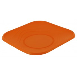 "Plastic bord PP ""X-Table"" Vierkant oranje 18 cm (8 stuks)"