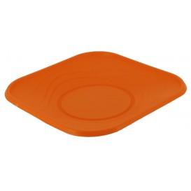 "Plastic bord PP ""X-Table"" Vierkant oranje 23 cm (8 stuks)"