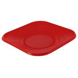 "Plastic bord PP ""X-Table"" Vierkant rood 18 cm (8 stuks)"