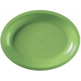 Plateau Plastique Réutilisable Ovale Vert citron PP 315x220mm (300 Utés)