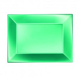 Plateau Plastique Plat Vert Nice Pearl PP 280x190mm (12 Utés)