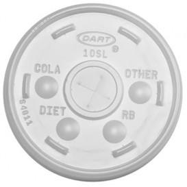 Plastic PS Deksel met rietsleuf Ø9,4cm voor Schuim beker (100 stuks)