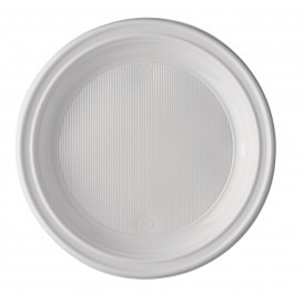 Plastic bord PS Plat wit 17 cm (100 stuks)