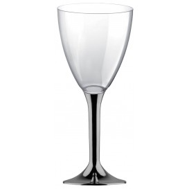 Flûte en Plastique Vin Pied Nickel Chrome 300ml 2P (20 Utés)