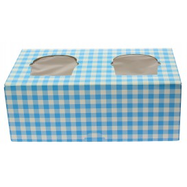 Papieren Cake vorm zak 2 Slots blauw 19,5x10x7,5cm (160 stuks)