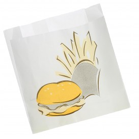 Papieren voedsel zak Vetvrij Burger Design 15+5x16cm (100 stuks)