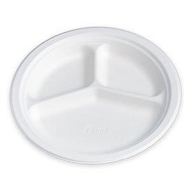 Papieren bord Houtpulp Chinet wit 3 Compartmenten 26 cm (540 stuks)