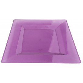 Assiette Plastique Carrée Extra Dur Aubergine 20x20cm (88 Utés)
