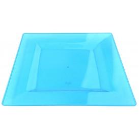 Plastic bord Vierkant extra sterk turkoois 20x20cm (4 stuks)