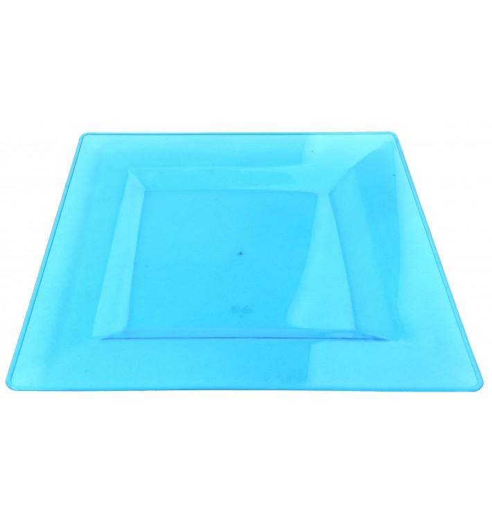 Assiette Plastique Carrée Extra Dur Turquoise 20x20cm (88 Utés)
