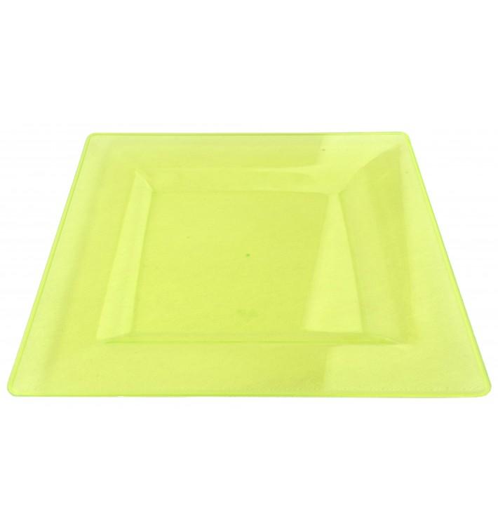 Assiette Plastique Carrée Extra Dur Vert 20x20cm (88 Utés)