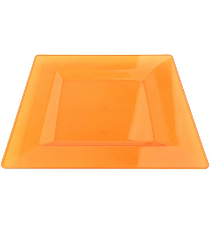 Assiette Plastique Carrée Extra Dur Orange 20x20cm (88 Utés)