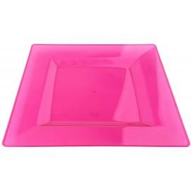 Plastic bord Vierkant extra sterk framboos 20x20cm (4 stuks)