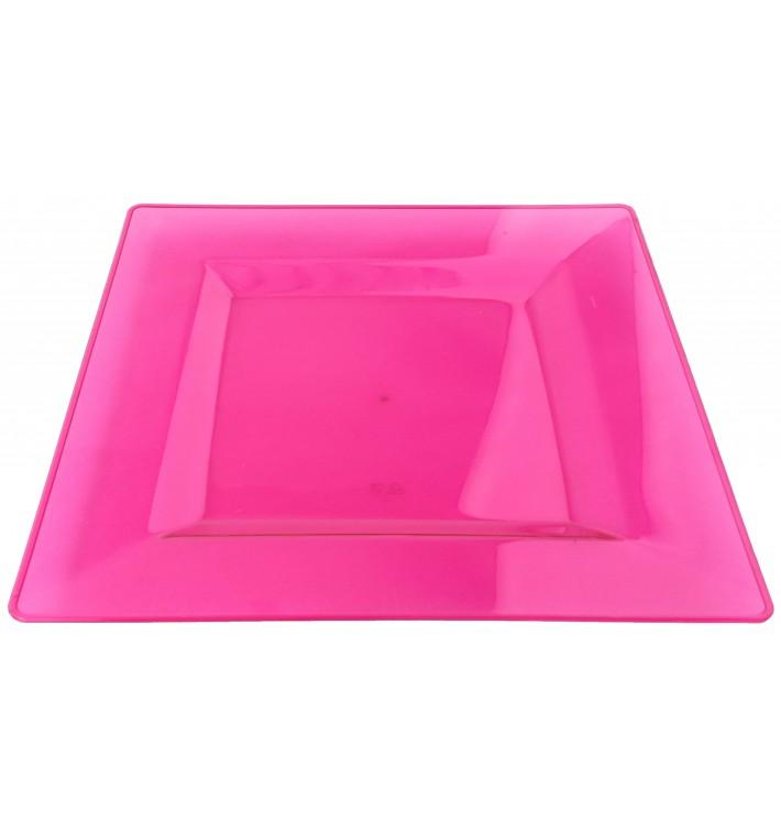 Assiette Plastique Carrée Extra Dur Framboise 20x20cm (4 Utés)