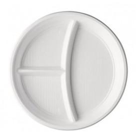 Plastic bord PS 3 Compartmenten wit 22 cm (1400 stuks)