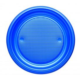 Plastic bord PS Plat donkerblauw Ø17 cm (50 stuks)