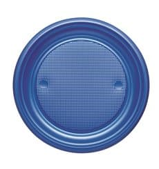Assiette Plastique PS Plate Bleu Foncé Ø170mm (50 Unités)