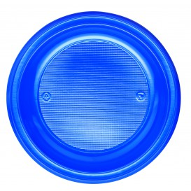 Plastic bord PS Plat donkerblauw Ø22 cm (30 stuks)