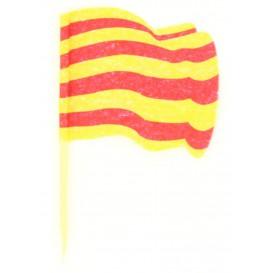Vlag van Catalonië vleespennen 6,5cm (14400 stuks)