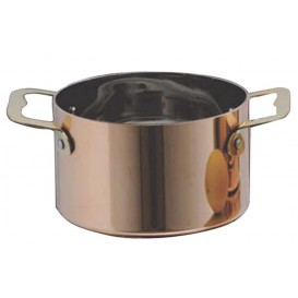 Bediening mini kookpot dienblad kom van staal koper Ø7x4,5cm (6 stuks)
