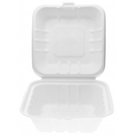 Boîte à Hamburger Canne à Sucre Blanc 150x150x75mm (500 Utés)