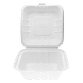 Suikerriet Burger Box wit 15x15x7,5cm (500 eenheden)