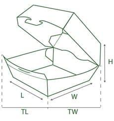 Boîte Hamburgueur XXL Kraft 15,5x15,5x8cm (25 Unités)