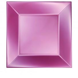 Assiette Plastique Plate Rose Nice Pearl PP 290mm (12 Utés)